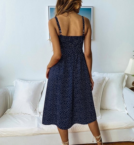 Polka Dot Boho Midi Dress