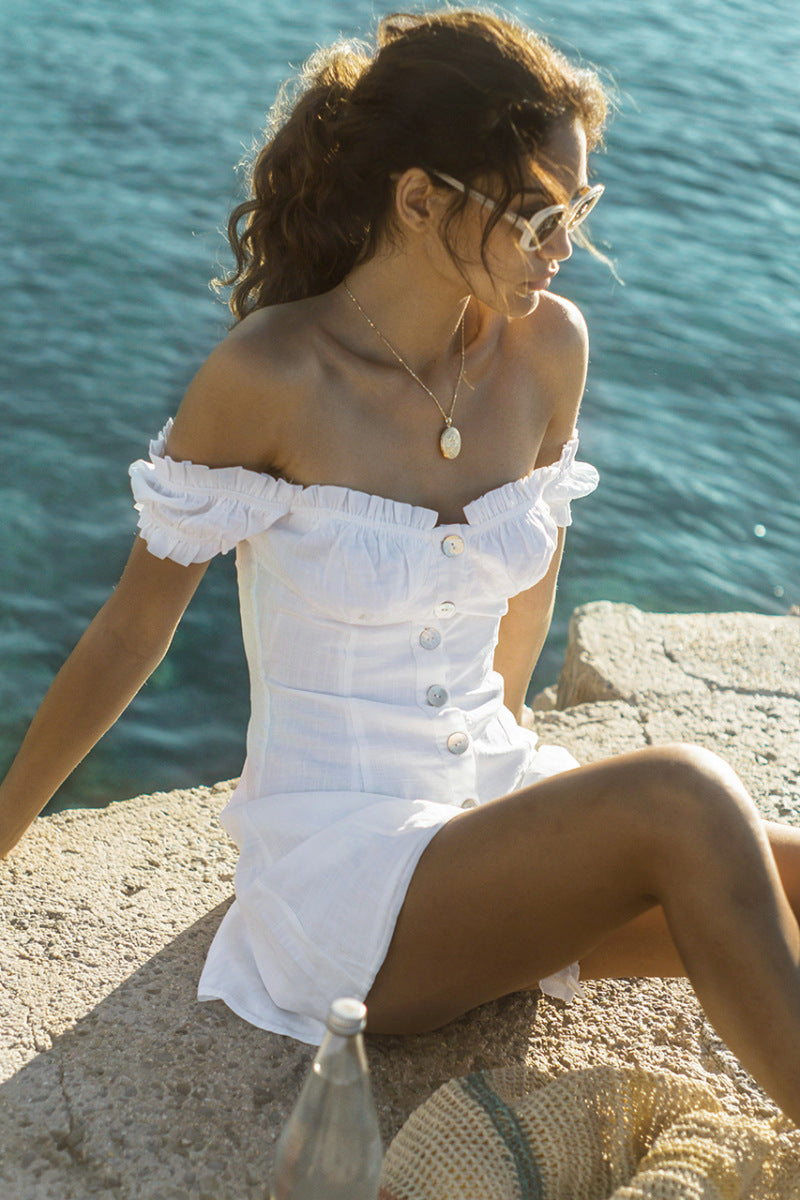 White Off Shoulder Puff Sleeves Button Mini Dress