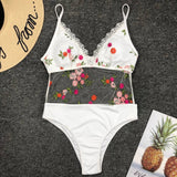 Embroidery White Lace Floral Printed One Pieces