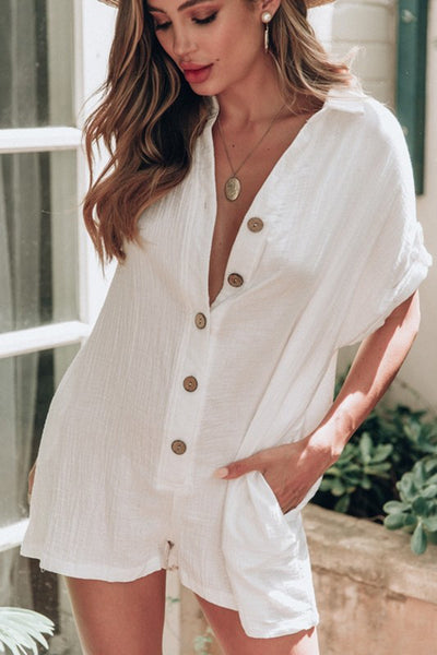 Sexy Button Loose Shirt Beige Jumpsuits