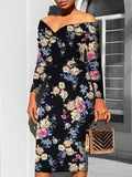 Boho Womens Off Shoulder Bodycon Floral Dress