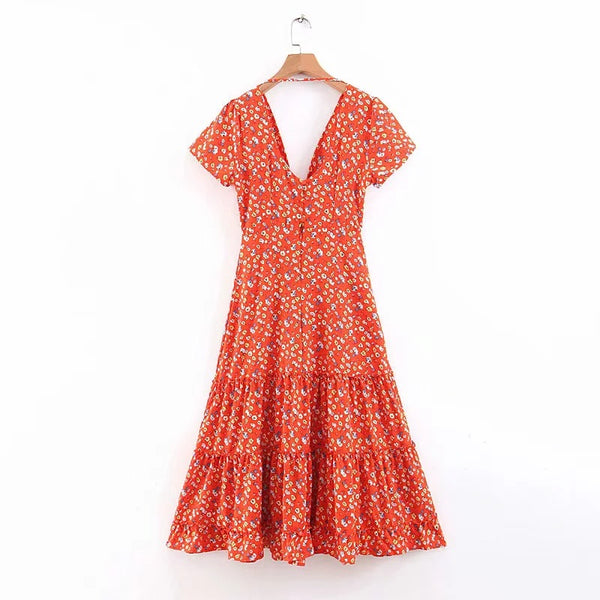 Bohemian Midi Dress Women Sexy V-Neck Beach Long Dress