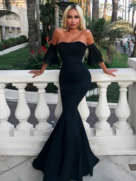 Sexy Black Mermaid Prom Dresses 2019 Short Sleeves Formal Evening Gwns
