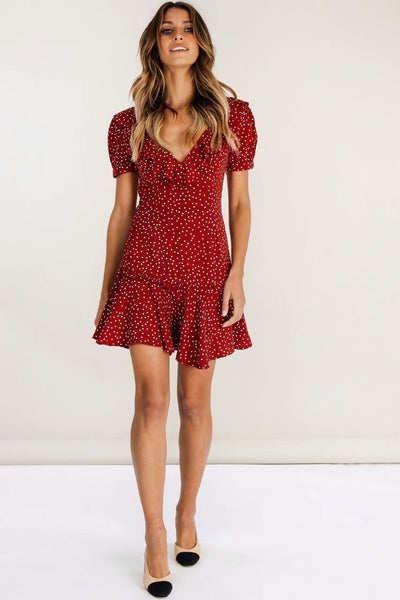 Red polka dots lace-up dress