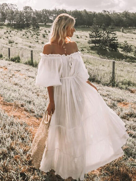 New Bohemian Solid Off Shoulder White Maxi Dress