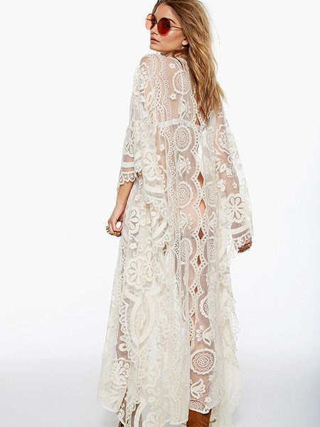 Women Beach V-neck Sexy Lace Sleeve Loose Maxi Party Dress
