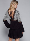 Women Embroidery Hollow Bow  Long Sleeve Backless V-neck