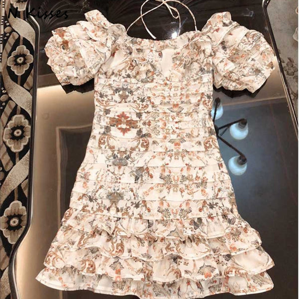 Print Beach Style Ruffle Short Lantern Sleeve Mini Dress