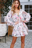 Cotton Floral drawstring mini dress