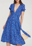 Blue  V-neck farah tie dress