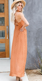 Orange polka dot maxi dress