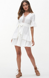 White Chiffon Lace Fuffles Tie Dress
