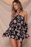Boho Black Floral Lace-up Rompers