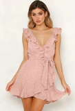 Deep V-neck Slim Ruffled Dress -2color