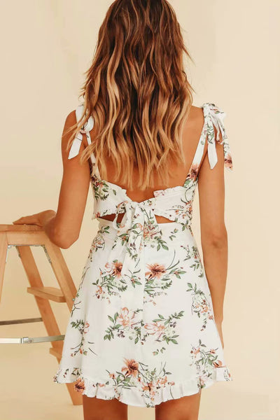 Leaf Floral Boho Mini Tie Dress