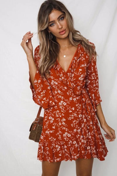 Bohemian Flounce Floral Mini Dress