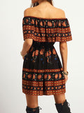 Women Boho Floral Off Shoulder Vintage Bohemian Dress