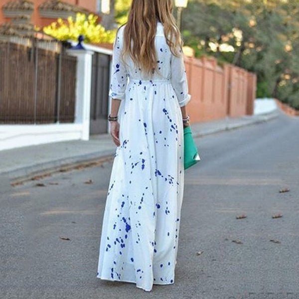 POLO Collar Dot Printed Long Expansion Vacation Dress