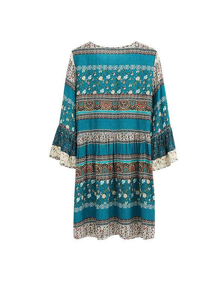Women Bohemian Straps sleeve printed beach loose Dress