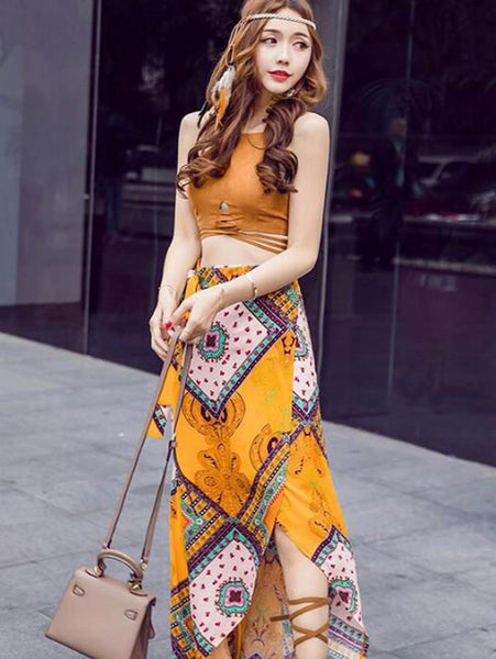 Women  Maxi Skirt  Boho Long Sexy Summer Bottom