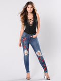 Plus Size Women Pants Embroidered Jeans Bottom
