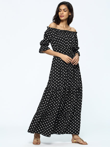 Ruffled Slash Neck Short Sleeve Polka Dot Maxi Beach Dress