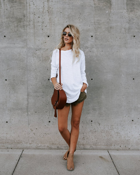 Solid Casual Long Sleeve Loose T-Shirt