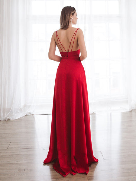 Sexy Red Simple Long Prom Dress High Split Formal Evening Gowns