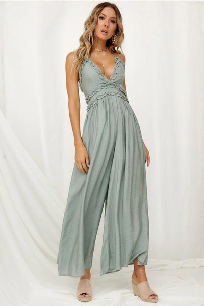 Cotton Sexy Lake Blue Boho Jumpsuits