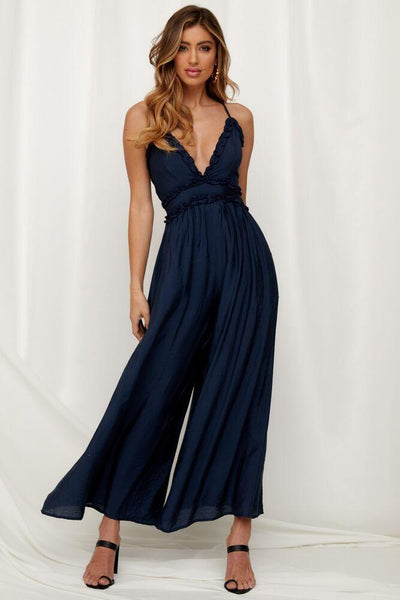 Cotton Sexy Navy Bohemian Jumpsuits