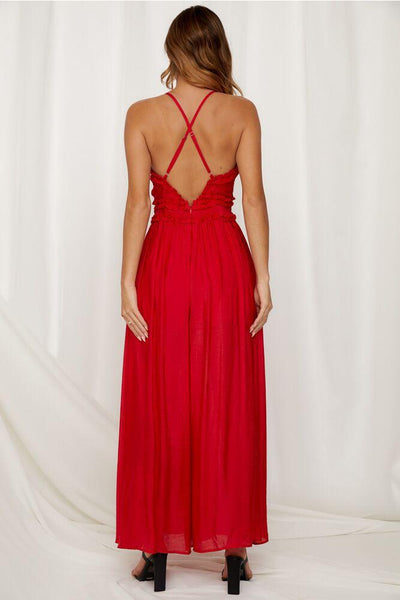 Cotton Sexy Red Boho Jumpsuits