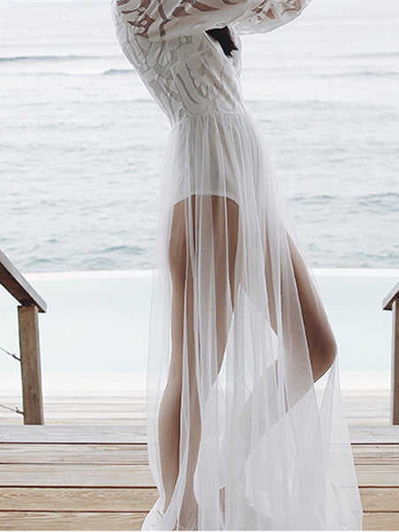 Beach Holiday White Dress And Bikini Two-Piece Suit