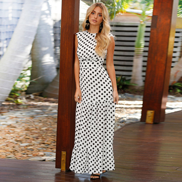 Waist Slim Thin Wave White Dot Long Maxi Dress