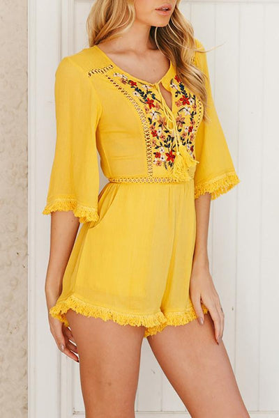 Cotton Bohemian Embroidery Tassels Romper