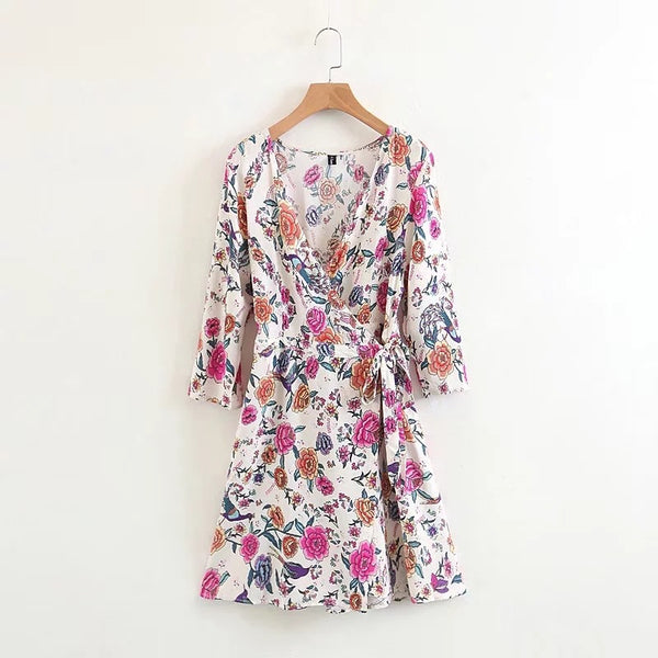 Sexy Floral Deep V Collar Medium Lace-Up Shift Dress