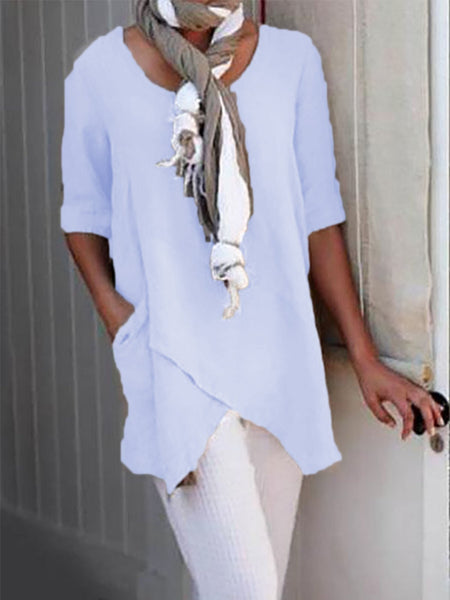 Half Sleeve Plus Siz Asymmetrical Simple Blouse