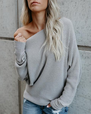 Asymmetric Solid Color Long Sleeves Grey Sweater