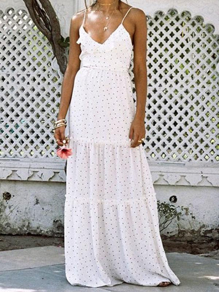 Pretty Polka-dot Bohemia Backless Floral V Neck Maxi Dress