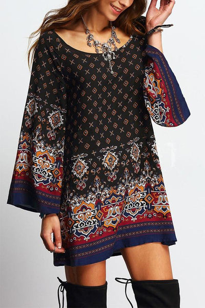 Women Vintage Sexy Boho Floral Printed Beach Dress