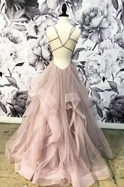 Blush Pink Tulle Ruffles Long Cross Back Prom Dress, Party Dress