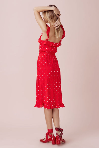 Retro Wave Frill Sling Red Dot Midi Dress