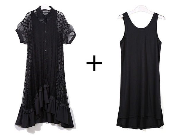 Two Pieces Set Black White Long Shirt Ruffle Short Sleeve Dotted Dress