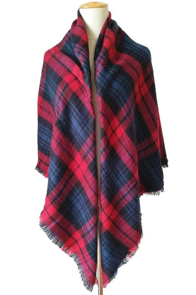 Women Plaid Winter Unisex Shawl Red Scarves