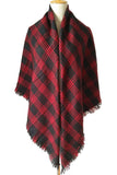 Women Red&Black Plaid Winter Elegant Shawl Scarves