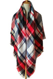 Women Plaid Winter Shawl Red Blue&White Scarves