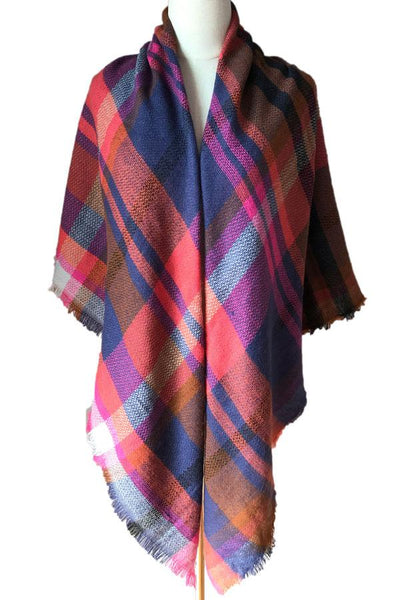 Winter Women Cashmere double sided colorful plaid Shawl Scarves