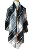 Women Black&White Plaid Blanket Winter Cashmere Shawl Scarves