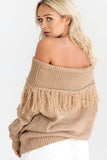 Women collar Tassel Sweater Long-sleeved Wool Sweater