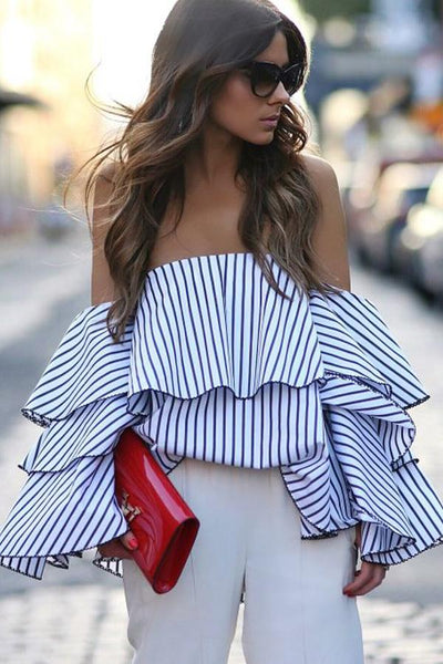 Women Off Shoulder Ruffles Striped Blouse Sexy Long Sleeve Tops