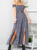 Women Floral Print Long Sleeve Slash Neck Sexy Bohemia Dress